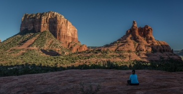 Meditating in the shadow of Bell Rock and Courthouse Butte